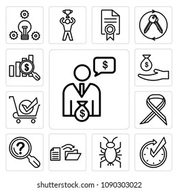 Set Of 13 simple editable icons such as cfo, realtime, cricket bug, data migration, problem statement, multiple sclerosis, bought, subsidy, value proposition can be used for mobile, web UI, pixel perfect icons
