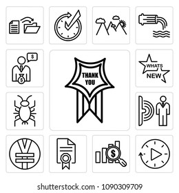 Set Of 13 simple editable icons such as thankyou, downtime, value proposition, mandate, rmb, motion sensor, cricket bug, whats new, cfo can be used for mobile, web UI, pixel perfect icons