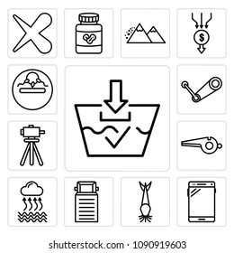 Set Of 13 simple editable icons such as washable, , catfish, truck, evaporation, whistle, surveyor, steam, infertility can be used for mobile, web UI, pixel perfect icons