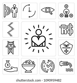 Set Of 13 simple editable icons such as self esteem, wastewater, real time data, hummus, subsidy, hypoallergenic, thankyou, saudi riyal, spiral staircase can be used for mobile, web UI, pixel perfect icons