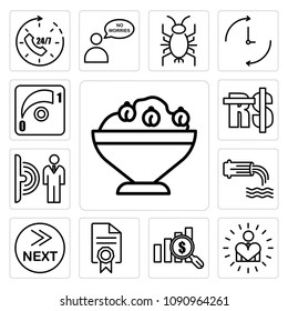 Set Of 13 simple editable icons such as hummus, self esteem, value proposition, mandate, what's next, wastewater, motion sensor, saudi riyal, dimmer can be used for mobile, web UI, pixel perfect icons