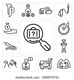 Set Of 13 simple editable icons such as lost and found, ugly christmas sweater, diesel generator, cfo, hill station, achive, sensitive skin, realtime, subsidy can be used for mobile, web UI, pixel perfect icons