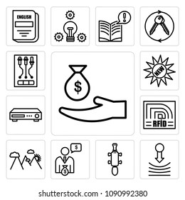 Set Of 13 simple editable icons such as subsidy, resilience, platypus, cfo, hill station, rfid, dvr, new, can be used for mobile, web UI, pixel perfect icons