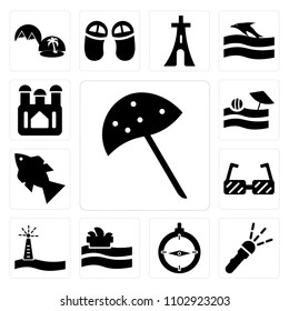 Set Of 13 simple editable icons such as Sun Umbrella Open, Flashlight, Old Compass, Sydney opera house, Lighttower with Light, Big Sunglasses, Fish Four bubbles, web ui icon pack
