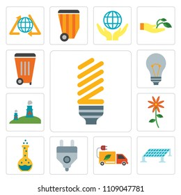 Set Of 13 simple editable icons such as Light bulb, Solar panel, Truck, Plug, Flask, Flower, Nuclear plant, Waste, web ui icon pack