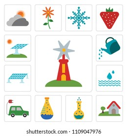 Set Of 13 simple editable icons such as Windmill, House, Flask, Electric car, Drop, Solar panel, Watering can, web ui icon pack