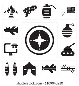 Set Of 13 simple editable icons such as Cardinal points on winds star, Barbed wire, Plane, Tent, Bullets, Tank, Robber, Granade, Jet, web ui icon pack