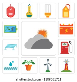 Set Of 13 simple editable icons such as Cloudy, Windmill, Plant, Drop, Gas station, Solar panel, Battery, web ui icon pack