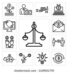 Set Of 13 simple editable icons such as Scales, Exchange, Idea, Growth, Piggy bank, Corruption, Illegal, Bribe, Online banking, web ui icon pack