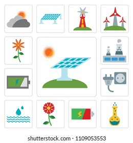 Set Of 13 simple editable icons such as Solar panel, Flask, Battery, Flower, Drop, Plug, Nuclear plant, web ui icon pack