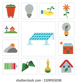 Set Of 13 simple editable icons such as Solar panel, House, Flask, Leaf, Battery, Cloudy, Light bulb, Eolic energy, web ui icon pack