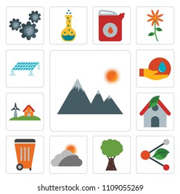 Set Of 13 simple editable icons such as Mountain, Share, Tree, Cloudy, Waste, House, Eolic energy, Save water, Solar panel, web ui icon pack