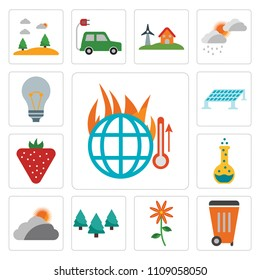 Set Of 13 simple editable icons such as Global warming, Waste, Flower, Forest, Cloudy, Flask, Strawberry, Solar panel, Light bulb, web ui icon pack