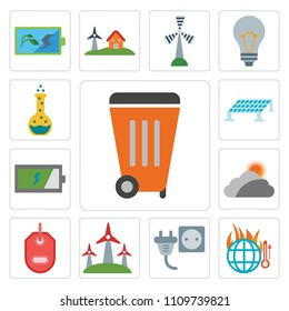 Set Of 13 simple editable icons such as Waste, Global warming, Plug, Eolic, Tag, Cloudy, Battery, Solar panel, Flask, web ui icon pack