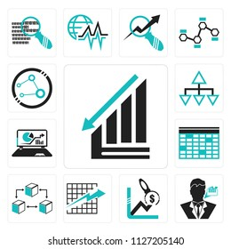 Set Of 13 simple editable icons such as Data analytics descendant graphic, Businessman talking about data analysis, Profit Analysis, Line graphic on checke background, web ui icon pack