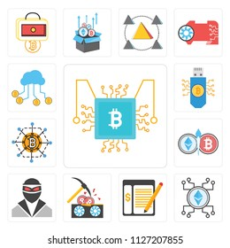 Set Of 13 simple editable icons such as Cpu, Ethereum, Ledger, Bitcoin, Thief, Blockchain, Bitcoin storage, Cloud computing, web ui icon pack