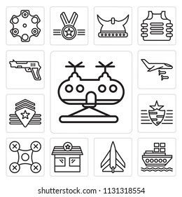 Set Of 13 simple editable icons such as Military helicopter, Ship, Jet, Check point, Drone, Rank, Plane, Gun, web ui icon pack