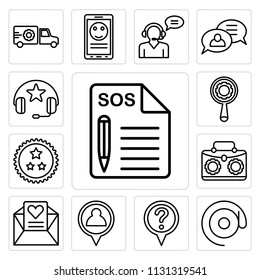 Set Of 13 simple editable icons such as Support, At, Location, Placeholder, Love letter, Briefcase, Ribbon, Search, Headphones, web ui icon pack
