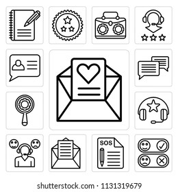 Set Of 13 simple editable icons such as Love letter, Rate, Support, Mail, Headphones, Search, Chat, web ui icon pack