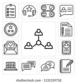 Set Of 13 simple editable icons such as Connection, List, Support, Chat, 404 error, Mobile phone, Love letter, Ribbon, web ui icon pack