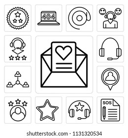 Set Of 13 simple editable icons such as Love letter, Support, Headphones, Star, Rating, Placeholder, Connection, Headset, web ui icon pack