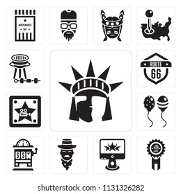 Set Of 13 simple editable icons such as Statue of liberty, Badge, Computer, Cowboy, Casino, Balloons, Walk fame, Route 66, Bbq, web ui icon pack