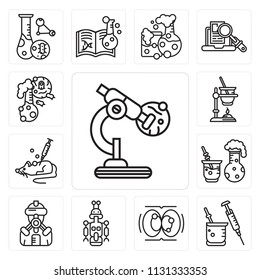 Set Of 13 simple editable icons such as Microscope, Syringe, Cell division, Droid, Suit, Chemical reaction, Mouse, Experiment, Flask, web ui icon pack