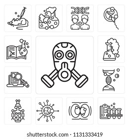 Set Of 13 simple editable icons such as Gas mask, Blood test, Cell division, Biology, Droid, Dna, Research, Flask, Chemistry, web ui icon pack