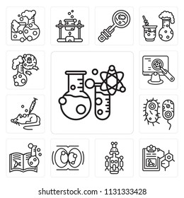Set Of 13 simple editable icons such as Flask, Formula, Droid, Cell division, Chemistry, Bacteria, Mouse, Analysis, web ui icon pack