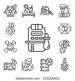 Set Of 13 simple editable icons such as Chemistry, Droid, Hazardous, Flask, Dangerous, Cell division, web ui icon pack