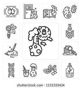 Set Of 13 simple editable icons such as Flask, Sprout, Molecular, Chemical reaction, Dna, Research, Mouse, Droid, Petri dish, web ui icon pack