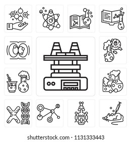 Set Of 13 simple editable icons such as Shaker, Mouse, Droid, Cell, Chromosome, Flask, Chemical reaction, Cell division, web ui icon pack