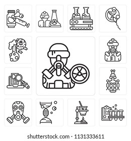 Set Of 13 simple editable icons such as Biological hazard, Blood test, Experiment, Dna, Gas mask, Droid, Research, Suit, Flask, web ui icon pack