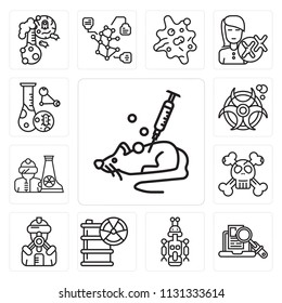 Set Of 13 simple editable icons such as Mouse, Research, Droid, Hazardous, Suit, Dangerous, Radiactive, Biohazard, Cell division, web ui icon pack