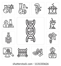 Set Of 13 simple editable icons such as Dna, Suit, Molecular, Test tubes, Analysis, Petri dish, Droid, Experiment, Radiactive, web ui icon pack