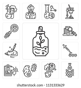 Set Of 13 simple editable icons such as Sprout, Droid, Flask, Bacteria, Formula, Dropper, Mouse, Research, Biology, web ui icon pack