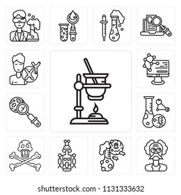 Set Of 13 simple editable icons such as Experiment, Einstein, Flask, Droid, Danger, Cell division, Microbiology, Molecular, Man, web ui icon pack