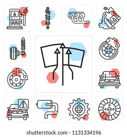 Set Of 13 simple editable icons such as Windscreen, Brake, Gear, Exhaust pipe, Car, Car repair, Disc brake, Suspension, web ui icon pack