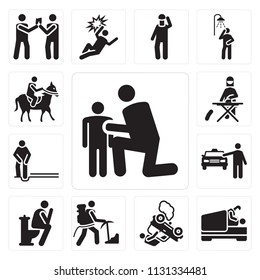 Set Of 13 simple editable icons such as Hug, Love, Accident, Climbing Sport, Toilet, Cab, Ironing, Horse riding, web ui icon pack