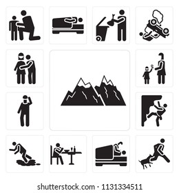 Set Of 13 simple editable icons such as Snowed mountains, Bite, Love, Eating, Accident, Climbing, Give flower, Hug, web ui icon pack