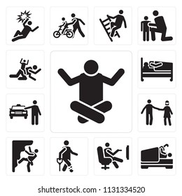 Set Of 13 simple editable icons such as Relax, Love, Accident, Climbing, Playing, Cab, Hospitalization, web ui icon pack