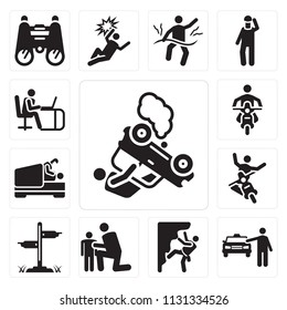 Set Of 13 simple editable icons such as Accident, Cab, Climbing, Hug, , Love, Motorcycle, Working, web ui icon pack