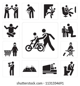 Set Of 13 simple editable icons such as Bike, Toilet, Love, Snowed mountains, Drinking, Ironing, Shopping, Hug, Relax, web ui icon pack