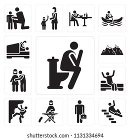 Set Of 13 simple editable icons such as Toilet, Accident, Businessman, Ironing, Climbing, Wake up, Hug, Snowed mountains, Love, web ui icon pack