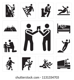 Set Of 13 simple editable icons such as Drinking, Love, Playing, Climbing, Accident, Falling, Hug, Hospitalization, Snowed mountains, web ui icon pack