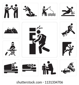 Set Of 13 simple editable icons such as Accident, Hug, Sleeping, Love, Climbing, Ironing, Bite, Snowed mountains, web ui icon pack