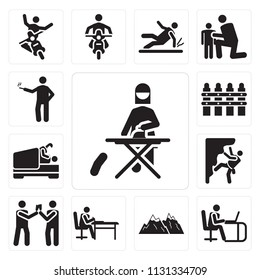 Set Of 13 simple editable icons such as Ironing, Working, Snowed mountains, Writing, Drinking, Climbing, Love, Picket fence, Smoking, web ui icon pack