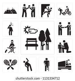 Set Of 13 simple editable icons such as Sunny Park, Love, Accident, Stretching, Badminton RAcket and Feather, Hug, Ironing, Meeting, Headache, web ui icon pack