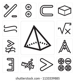Set Of 13 simple editable icons such as Triangular pyramid volumetrical shape, Calculator buttons interface, Is greater than, Compass and ruler for mathematics, There exists, web ui icon pack