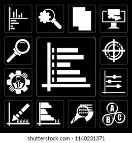 Set Of 13 simple editable icons such as Data analytics bars chart with descendant line, interconnected, search, Analytics, descending line graphic, web ui icon pack